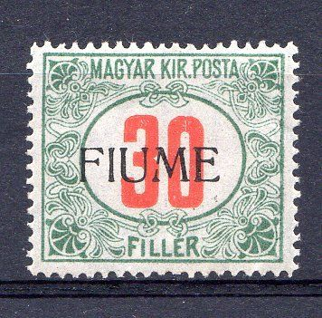 Italy - Fiume 1918 - Postage due 30 filler green and red - Sassone N. 12