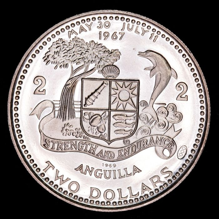 Anguilla - 2 Dollars 1969 'National Flag and Map'  - Argent