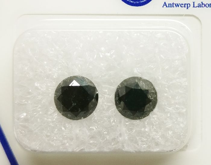 2 pcs Diamantes - 1.79 ct - Brillante - fancy black - No es aplicable