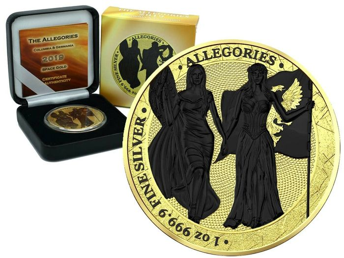 Germany - 5 Mark 2019- Allegories Columbia & Germania Gold Space Edition - 1 Oz - Silver