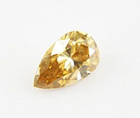 Diamant - 0.42 ct - Poire - fancy yellowish brown - VS2