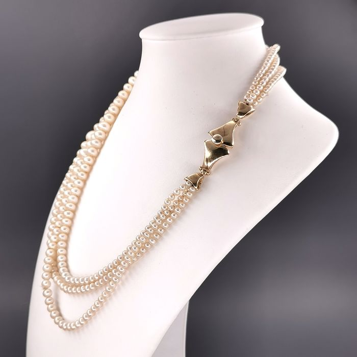 18 kt. Freshwater pearls, Yellow gold, 3.2 mm - Necklace