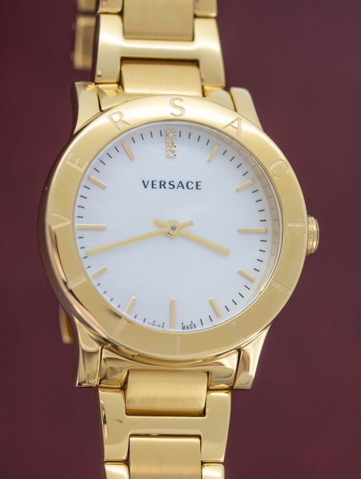 Versace - Acron Collection White Mother of Pearl Dial IP Gold Stainless Steel Swiss Made - VQA090017 - Damen - 2011-heute