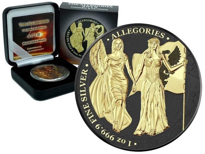 Germany - 5 Mark 2019- Allegories Columbia & Germania Black Gold Space Edition - 1 Oz - Silver