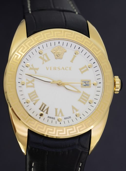 """Versace - V-Sport Collection IP Gold Stainless Steel Black leather strap Swiss Made - VFE130015 """"NO RESERVE PRICE"""" - Hombre - Brand New"""
