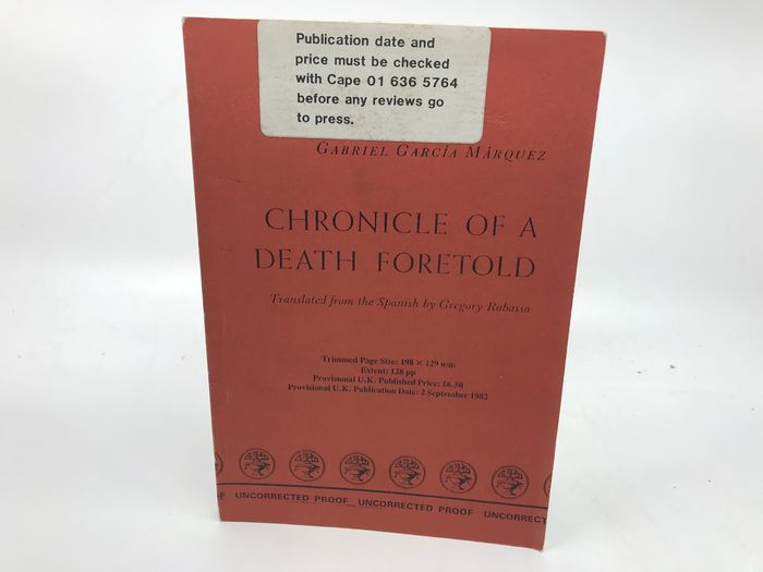 Gabriel Garcia Marquez - Chronicle of a death foretold (uncorrected proof copy) - 1982