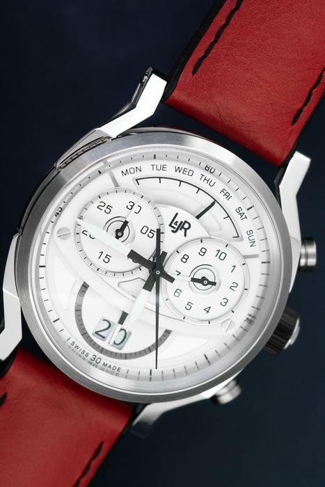 L&Jr - Chronograph Day and Date White Dial and Burgundy Strap + Extra Black Strap - S1504-S12 - Herren - 2011-heute