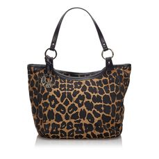 Fendi - Leopard Print Canvas Handbag Sac à main