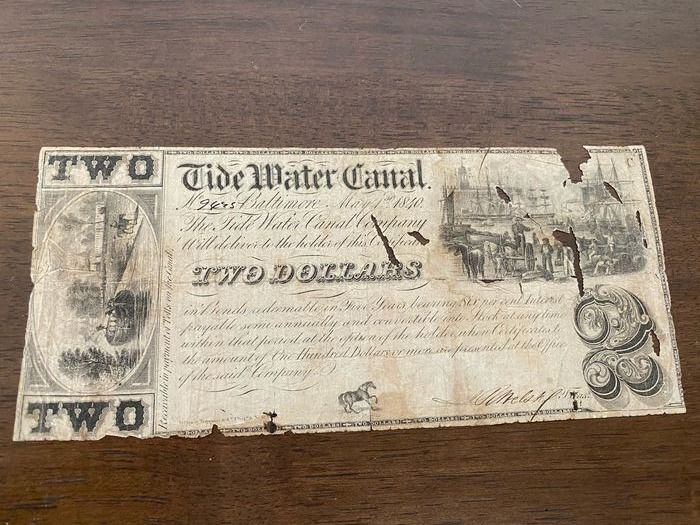 USA - Obsolete currency - Tide Water Canal Company - 2 Dollar 1840