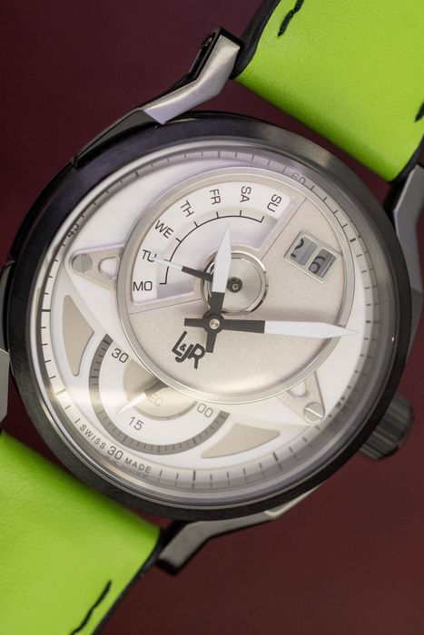 L&Jr - Day and Date White Dial with Green Strap + Extra Strap - S1301-S11 - Herren - 2011-heute