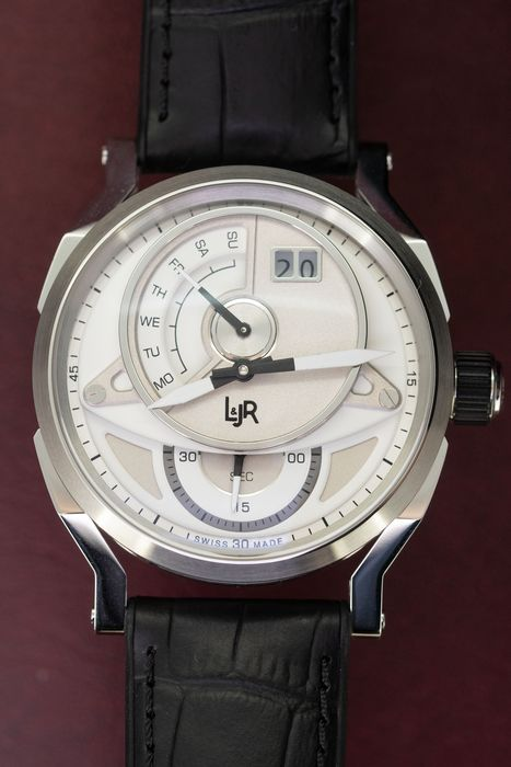L&Jr - Day and Date Silver Dial with Black Strap - S1304 - Herren - 2011-heute