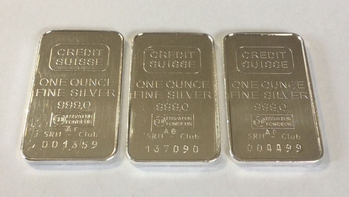 3 x 1 troy ounce ( 31,1 g ) - Zilver .999 - Credit Suisse