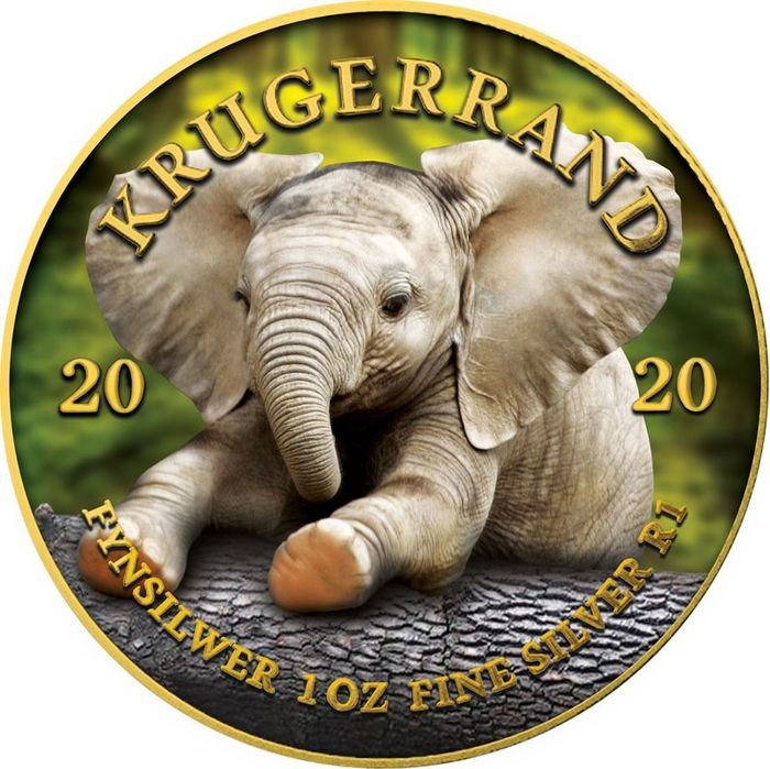 "South Africa - 1 Rand - 2020  - ""BABY ELEPHANT"" - Krugerrand Big Five - 1 oz - Silver"