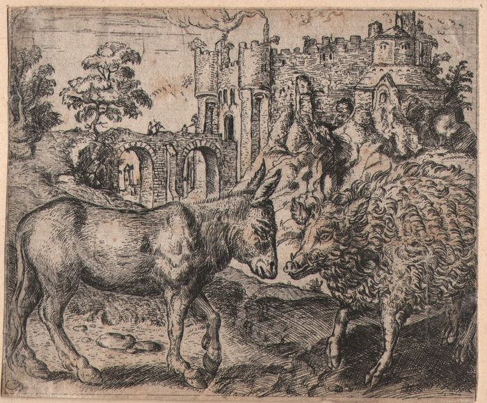 Marcus Gheeraerts (1520-1590) - The boar and the donkey - Early proof state without text