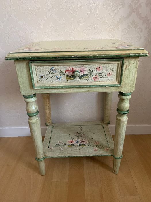 Wooden bedside table. Bedside table.Hand painted.Vintage French. - Wood
