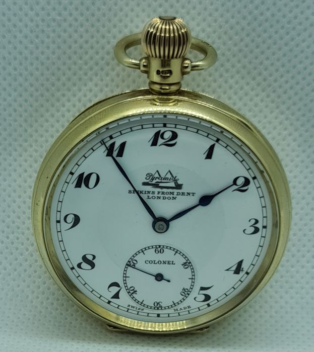 Dent London - 9Kt Goldtaschenuhr Pyramid  Colonel  - Lepine - Men - um 1910
