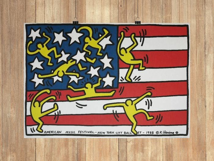 Keith Haring (after)  - American music festival New York ballet, 1988 - reprinted - 1988 - Années 1980
