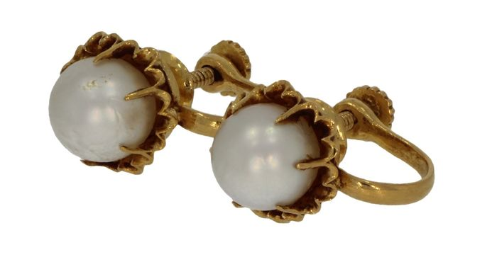 Antiek - 18 kt. Yellow gold - Earrings Pearl