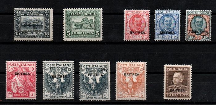Italienisch-Eritrea 1910/1929 - Selection of stamps of the period - Sassone NN. 36, S.7, S.24, 129, 137