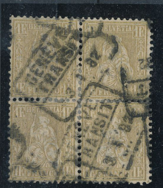 Switzerland 1882 - Seated Helvetia on phaser paper 1 franc in used block of 4 - sbk 52