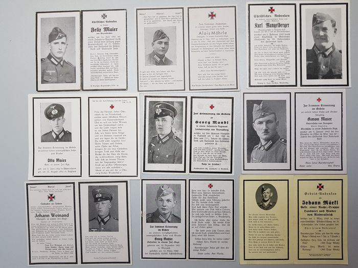 Germany - 9 German Prayer Prints (inc. Battle of Korsun-Cherkasy)