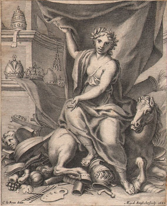 Charles Le Brun (1619-1690) and Rousselet - Fame with Pegasus and the arts - Music instruments