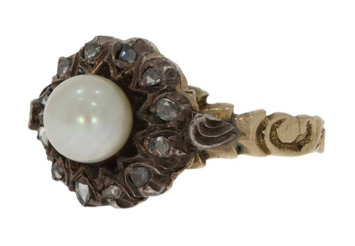 Victoriaans - 14 kt. Gold, Silver - Ring Diamond - Pearl