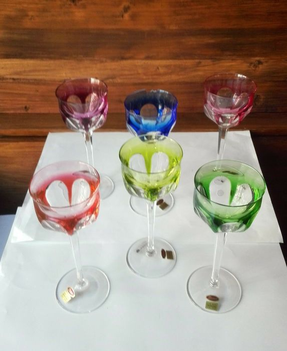 Moser - Wine glasses (6) - Glass (stained glass)
