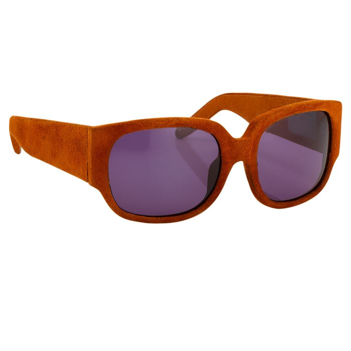 """Alexander Wang - Terracotta Suede Curved Rectangular """"NO RESERVE PRICE"""" Sunglasses"""