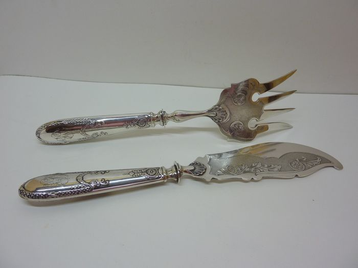 Fish serving set - .800 silver - Delheid Frères - Belgium - Late 19th century