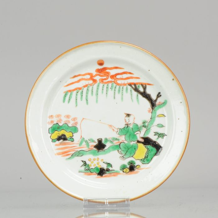 Bord - Porselein - Kosometsuke Antique Chinese Ming Dynasty Plate China Porcelain FAmille Verte  - China - 17e eeuw