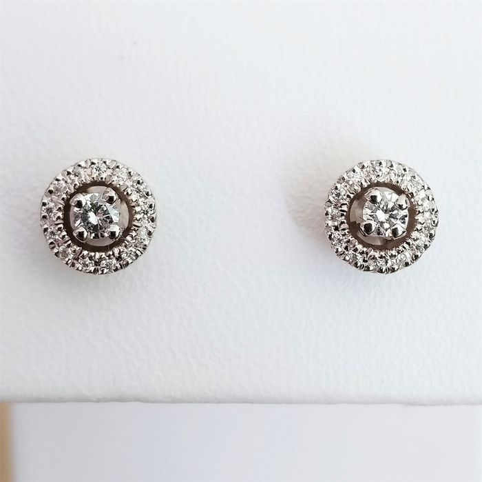 18 kt. White gold - Earrings - 0.09 ct Diamond - Diamond
