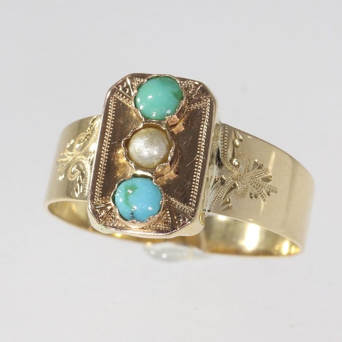 18 kt. Pink gold, Yellow gold - Ring, Antique Victorian - Anno 1890 - Engagement Ring Pearl and Turquoises -