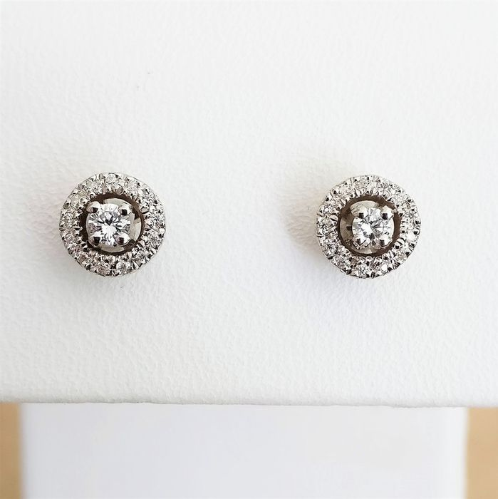 18 quilates Oro blanco - Pendientes - 0.09 ct Diamante - Diamante