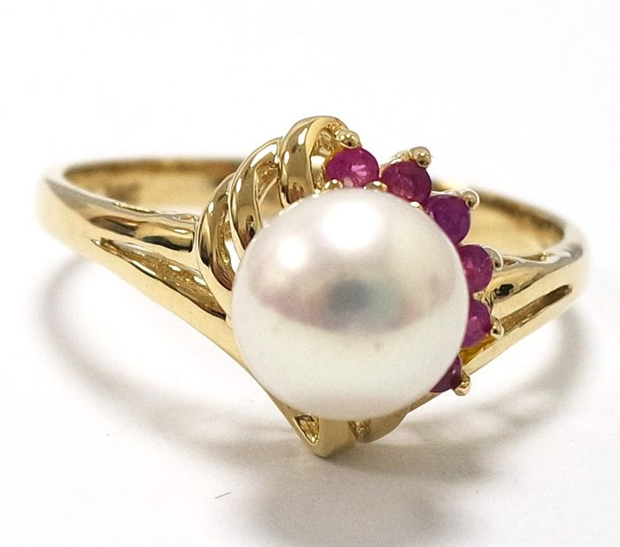 14 kt. Akoya pearl, Yellow gold, 7 mm - Ring Pearl - Ruby