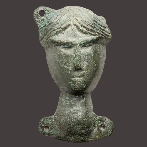 Ancient Roman Bronze  Military Phalera with a Facing Portrait of Diana (Artemis) the Goddess of Hunting/Hunters