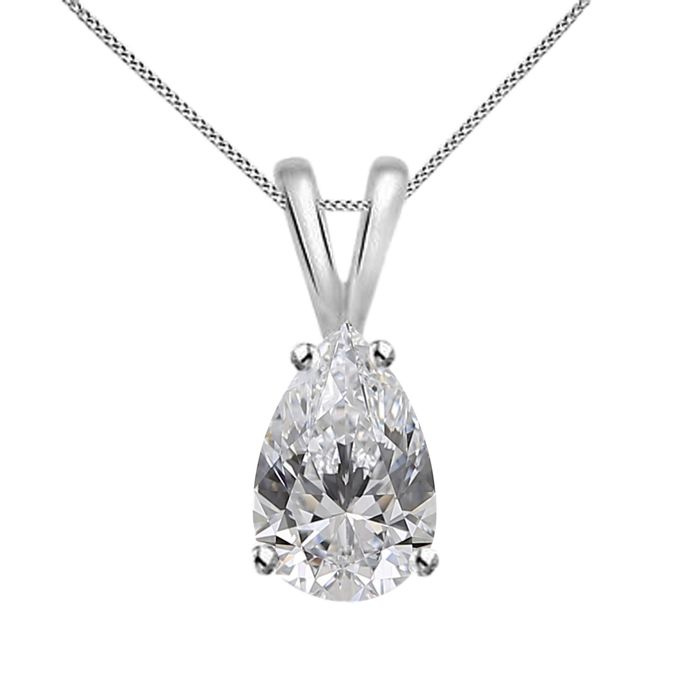 Pear Shape pendent - 18 kt. White gold - Necklace with pendant - 0.51 ct Diamond - Diamonds