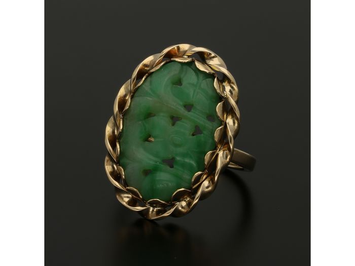 14 kt. Yellow gold - Ring Jade