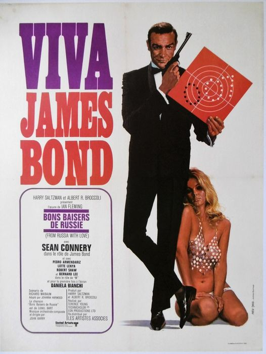 James Bond - From Russia with Love - Sean Connery  - Poster, French Cinema re-release 1972 - linen backed