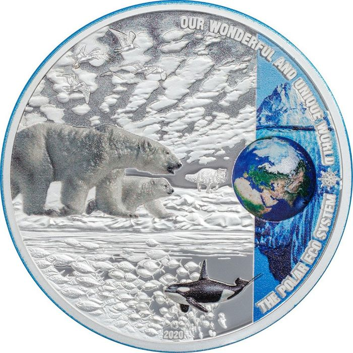 "Palau - 10 Dollar - 2020 - ""POLAR ECOSYSTEMS"" - Nostra Terra - Our Earth - 2 Oz - Silver"