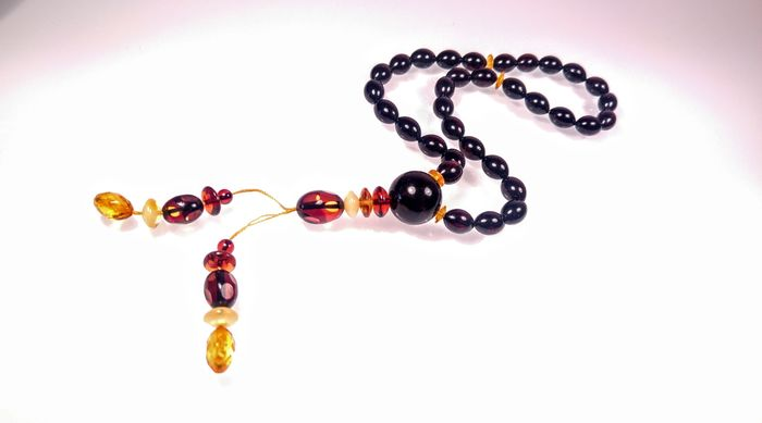 Black colour Tesbih Misbaha 33 beads - Rosary -  Baltic amber