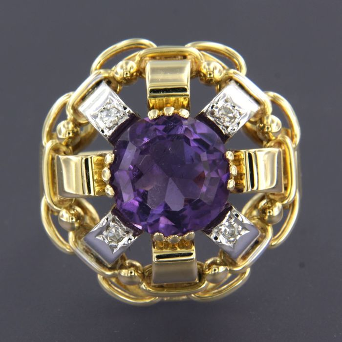 14 kt. White gold, Yellow gold - Ring - 3.60 ct Amethyst - Diamond