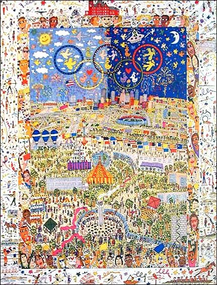 James Rizzi (after) - A VILLAGE FOR THE WORLD, Olympic Games 1996, original licensed print - 1996