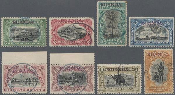 Ruanda-Urundi 1916 - Overprint 'Tombeur', complete series with overprint 'RUNANDA' and 'URUNDI' - Cancelled, with certificates - OBP / COB 9-23