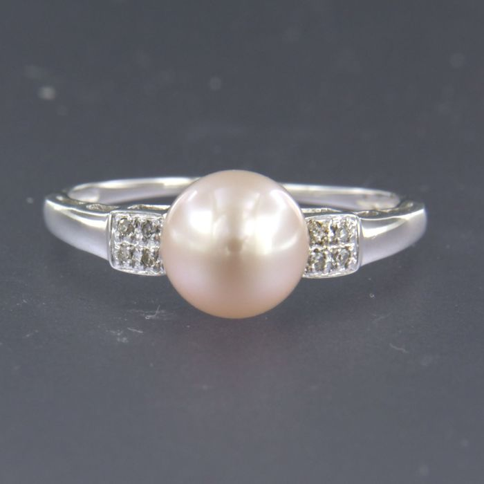 14 kt. Freshwater pearl, White gold - Ring - 0.04 ct Diamond