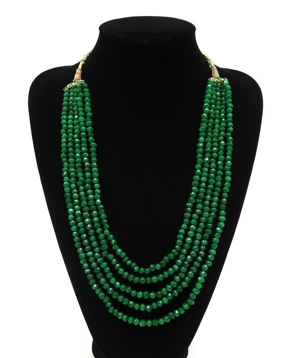 Faceted emerald pearl necklace - 5 rows - Emerald - India - 21st century