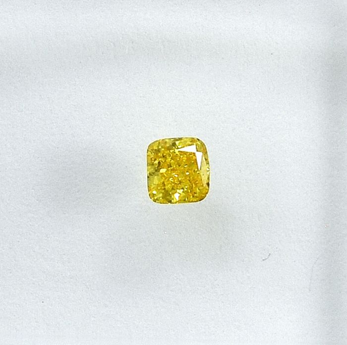 Diamond - 0.11 ct - Cushion - Natural Fancy Vivid Yellow - Si2 - NO RESERVE PRICE