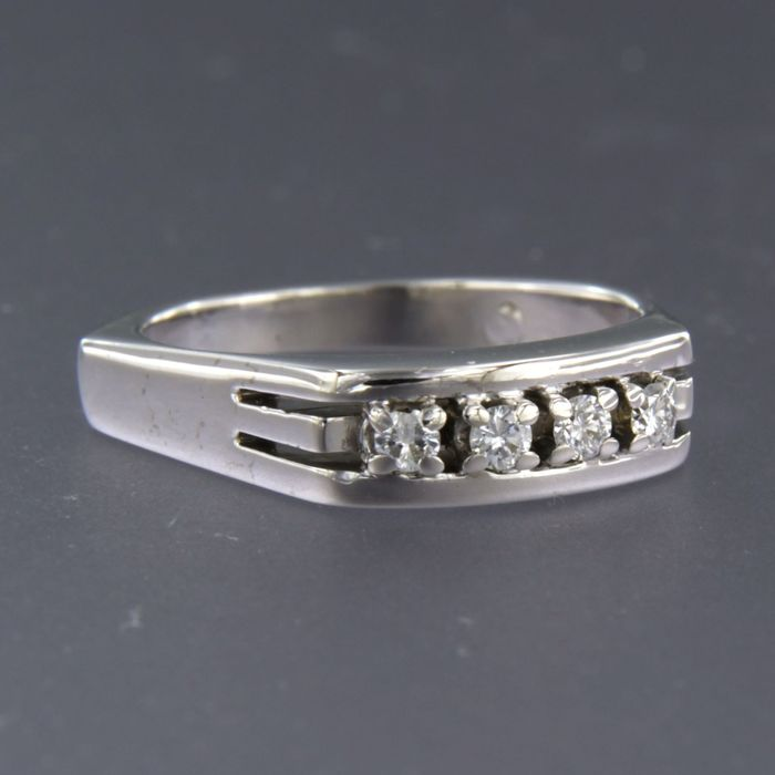 14 kt. White gold - Ring - 0.20 ct Diamond