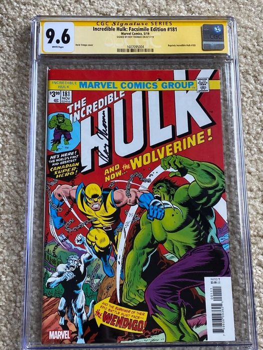 Incredible Hulk #181 Facsimile Edition - CGC Graded 9.6 Signed by Roy Thomas - Signerad av Roy Thomas