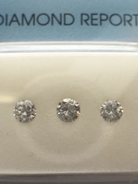 3 pcs Diamonds - 0.33 ct - Brilliant - F - VS1, VVS2